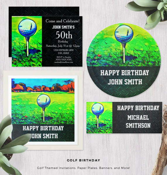 Golf Themed Birthday Invitation Collection For Men